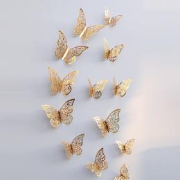 12 Sztuk 3D Tapety Hollow Naklejki Ścienne Motyl Lodówka Dla Dekoracji Domu Nowe Naklejki ścienne Wysokiej Jakości Dekoracje Dom