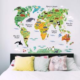 Śmieszne i Edukacyjne DIY Wymienny PCV Mural Tapety Zwierząt Mapa Świata Naklejki Ścienne Naklejka do Dekoracji Wnętrz 60X90 cm