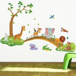3D Cartoon Jungle dzikich zwierząt drzewo most lion Żyrafa słoń ptaki kwiaty naklejki ścienne dla dzieci pokój dzienny domu wyst