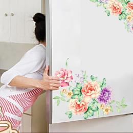 Kolorowe Kwiaty 3D Naklejki Ścienne Piękne Piwonia Lodówka Naklejki Szafa Wc Łazienka Dekoracji PCV Naklejki Ścienne/Klej