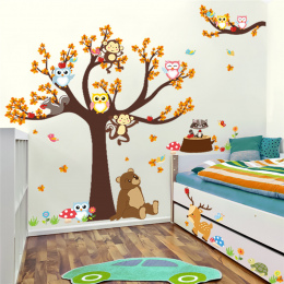Cartoon Gałęzi Drzewa Las Zwierząt Sowa Małpa Bear Jelenie Wall Stickers Dla Dzieci Pokoje Chłopców Dziewcząt Dzieci Sypialnia H