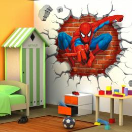 45*50 cm hot hole znani cartoon movie 3d spiderman naklejki ścienne dla dzieci pokoje chłopców prezenty poprzez naklejki ścienne