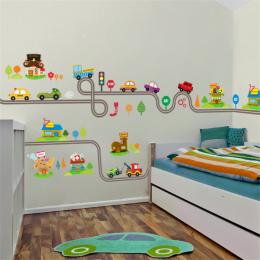 Cartoon Samochody Autostrady Utwór Wall Stickers Dla Dzieci Pokoje Zabaw Dla Dzieci Pokój Sypialnia Decor Wall Art Naklejki Nakl