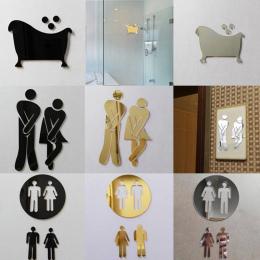 3D Lustro Naklejka Funny WC Wc Drzwi Wejście Znak Mężczyźni Kobiety Łazienka Naklejki Ścienne DIY Naklejki Bar Home Decor