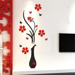 2018 DIY Wazon Kwiat Drzewa 3D Naklejki Ścienne Kalkomania Home Decor Adesivo De Parede Tapety Dla Livingrooms Kuchenne Dekoracj