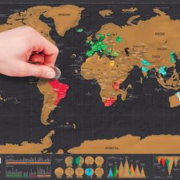 Luxury Edition Czarny Zeskrobać Mapa Świata Deluxe Podróży Scratch Mapa Świata Podróży Mapa Plakat Skreślać Mapa Świata Prezent