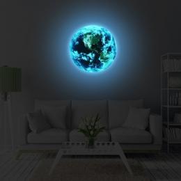 Nowy 1 SZTUK Luminous blue earth Kreskówki DIY 3d Naklejki Ścienne dla naklejki ścienne dla dzieci pokoje sypialni wystrój Domu