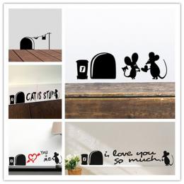 Śmieszne Miłość Mysz Otwór naklejki Ścienne winylowe Naklejki Ścienne Dla Dzieci Pokoje Mural Sztuki dekoracji Wnętrz W Stylu Vi