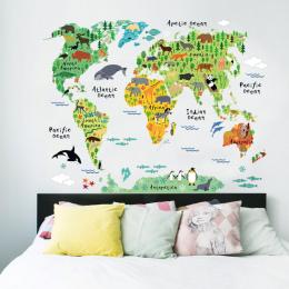 Kolorowe zwierząt mapa świata naklejki ścienne pokój dzienny dekoracje domu pcv naklejka mural art 037 diy biurowe ścienne dla d