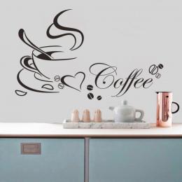 Filiżanka kawy z serca winylu cytat Restauracja Kuchnia wymienny Naklejki ścienne DIY home decor wall art MURAL Drop Shipping