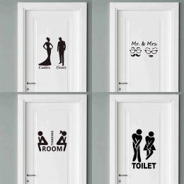 Pan i Pani Cytaty Drzwi Wc Naklejki Moda Łazienka Drzwi Kalkomanie Diy Wodoodporna Wall Art Vinyl Wymienny Plakat Home Decor