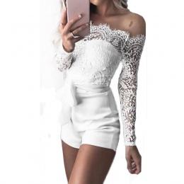 Kobiety panie lato jesień off shoulder sexy przebrania fashion z długim rękawem sheer lace patchwork hollow bandaż obcisłe przeb
