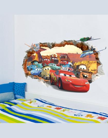 3d Złamane ściany Decor Naklejki Dla Chłopców Sypialnia Samoprzylepne Dzieci Pokój Tapety Cartoom Samochody Plakat Mural Pioruna