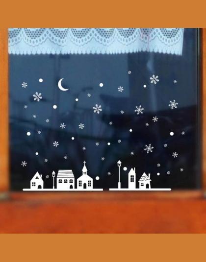 1 Pc Boże Narodzenie Dekoracyjne Naklejka Merry Christmas Snowflake Xmas Szkło Okienne Naklejki Wymienny Naklejki ścienne Naklej