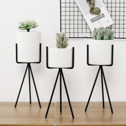 1 Zestaw/2 sztuk Nordic Styl Ceramiki Sztuki Żelaza Minimalizm Kwiat Wazony Wazon Dekoracji Roślin Doniczka Dla OfficeRoom kawia
