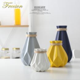 Europa Krótkie Matt Diament Porcelany Wazon Nowoczesny Sposób Ceramiczne Wazon Room Study Korytarz Domu Dekoracje Ślubne