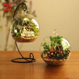Wiszące Jasne Szklanej Kuli Roślin Powietrza Terrarium Z Metalowym Stojaku 10 cm Globe Rack Holder Okrągły Akwarium Ryby Ryby Kw