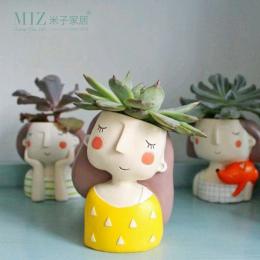 Miz Sadzarka Puli Kwiat Strona Główna Ogród Dekoracji Cute Girl Akcesoria Bonsai Pot Sadzarka Doniczka Wazon Pulpit Biuro W Domu