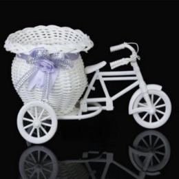 SOLEDI Gorąca Sprzedaży Kosz Rattan Trójkołowy Rower Kształt Kwiatów Roślin Pojemnik Home Garden Party Biuro Blat Wazy Storage C