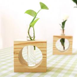 1 Zestaw Drewno Nowoczesny Styl Szkła Blat Roślin Bonsai Kwiat Ślub Dekoracyjne Wazon Z Drewnianej Tacy Akcesoria Do Dekoracji D