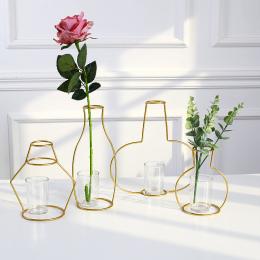 Nordic Stylu Metalu Żelaza Wazon Ramki Kwiaty Regały Geometryczne Art Decor Metal Rama Szkła Wazon Ogród Nowoczesny Wystrój Domu