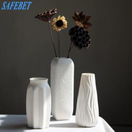 SAFEBET Marki Fashion Style Biały Ceramiczny Wazon Kreatywny Domu Dekoracji Blat Wazon Ręcznie Rękodzieła
