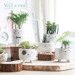 Miz 1 Sztuka Wazon Cute Zwierząt Rysunek Akcesoria Mały Garnek Ceramiczny Wazon dla Rośliny Dom Ogród Dekoracji Prezent dla Przy