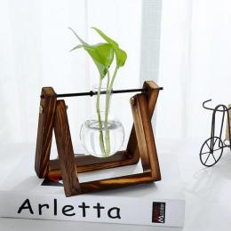 Drewno sosnowe Nowoczesny Styl Szkła Blat Roślin Bonsai Kwiat Ślub Dekoracyjne Wazon Z Drewnianej Tacy Akcesoria Do Dekoracji Do