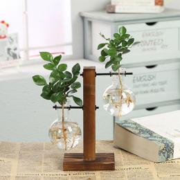 Styl Vintage Szkła Blat Roślin Bonsai Kwiat Ślub Dekoracyjne Wazon Z Drewniane L/T Kształt Tacy Akcesoria Do Dekoracji Domu