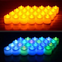 6 sztuk Zasilany z Baterii DOPROWADZIŁY Świeca Multicolor Lampy Symulacji Kolor Płomienia Miga Herbata Światło Domu Ślub Birthda