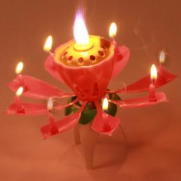 Hot 2016 Blossom Kwiat Lotosu Świeca Urodziny Muzyka Sparkle Ciasto Topper Świece Światła Różowy Tort Dekoracji Prezent GI670976