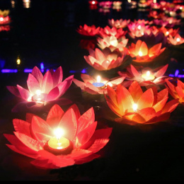 10 sztuk Multicolor jedwabiu lotus lantern światło z świeca pływający basen dekoracje Wishing Lamp urodziny wesele dekoracji
