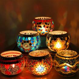 1 X Ręcznie Mozaika Wedding Party Candle Świecznik Romantyczna Kolacja Przy Świecach Lampy Dekoracji Domu