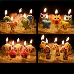 5 sztuk/zestaw Cartoon dziecięca Birthday Cake/Birthday Cake Wykaszarki Cupcake Świeca Świece Dostawy wesele Dekoracje domu-B
