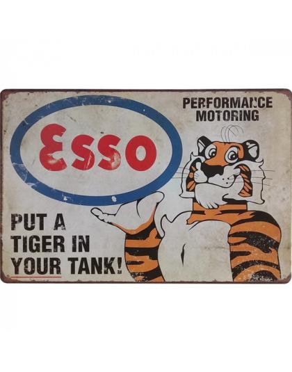 Neon Metalu Znak Retro Esso Tiger Decor Tin Tablica Cyny Benzyny Płyta Amerykański Styl Vintage Garaż Prostokąt Plakat 20x30 Cm