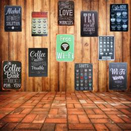 Darmowe WIFI Shabby Chic Home Bar Cafe Vintage Ścienna Decor Art Metal Tin Signs Pub Karczmy Retro Talerze Dekoracyjne Metalowe
