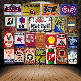 Vintage Mobil Olej Silnikowy Tin Signs Metal Plakat ELF STP Valvoline Auto Motocykl Benzyna YD007 Garaż Sklep Dekoracji Ścian Do