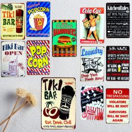 Tiki Bar Tin Signs Zasady Kuchenne Plate Metal Garaż Ścienne Pub Restauracja A-1009 Cuadros Home Art Decor Plakat W Stylu Vintag