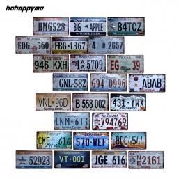 Numer Płyty hohappyme Amerykańskiego Samochodu USA Garażu Tablica Tablica Rejestracyjna Metalowa Plakietka Emaliowana Bar Dekora