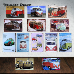 Vintage Home Decor Marki Samochodów Bus VW Combi Wagon Metalowe Tabliczki malarstwo Art Plakat Pub Garage Bar Sala Tin Plate Met