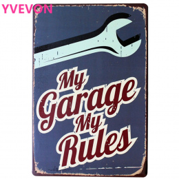 Moim Garażu Mój Zasady Samochód Żelaza Znak Metalu Dekoracji Rocznika Cyny Tablica Mechanik Modern Home Retro Płyta Prostokąt Pl
