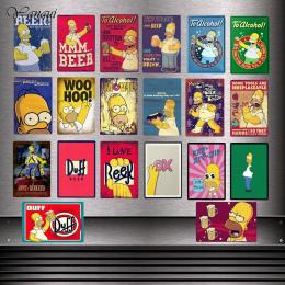 Dostosowane Metalowe Tabliczki The Simpsons Duff Beer Do Alkoholu Plakat Jeść Więcej YQZ080 Pączki Naklejki Ścienne W Stylu Vint