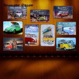 Paradise Beach VW Bus Plakietka Emaliowana Słynnej Marki Samochodu Wall Art dekoracje Bar Pub House Hotel Garaż Metal Malarstwo