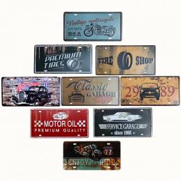 Płyty hohappyme Tablica Vintage Samochodów Bar Dekoracyjne Apartament Pokój Dzienny Ścianie Tablica Rejestracyjna Garaż Zarejest