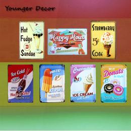 Amerykańska Lody Retro Plakat Tablica Ice Cold Cola Pop Pączki dekoracje Ścienne Dla Bar Ciasto Cukierki Sklep Rocznika Metalowe