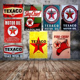 Niebo Szef Texaco Olej Silnikowy Metalowe Plakietki emaliowane Retro Vintage Home Wall Art Craft Decor Pub Garage Autobus Samoch