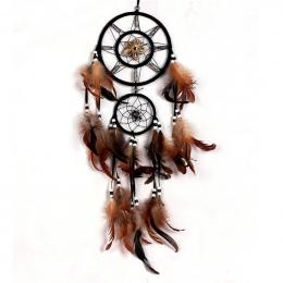 Pióro Rzemiosło Dream Catcher Brązowy Wiatr Kuranty Ręcznie Indian Dreamcatcher Netto na Ścianie Wiszące Samochodu Dekoracji Dom