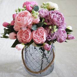 2018 Piękna Róża Piwonia Sztuczny Jedwab Kwiaty małe bukiet flores home party wiosna dekoracje ślubne mariage fałszywy Kwiat