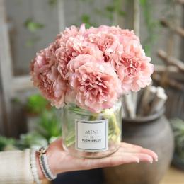 Sztuczne Kwiaty Piwonia Bukiet dla Dekoracji Ślubnych 5 Głowice Piwonie Fałszywe Kwiaty Home Decor Silk Hortensje Tanie Kwiat