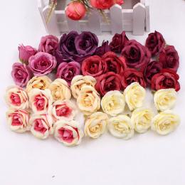 10 sztuk 4 cm Silk Rose Sztuczny Kwiat Wieniec Arkusze Ślubne Wyposażenie Domu DIY Rzemieślnicze Symulacja Tanie Fałszywe Kwiaty